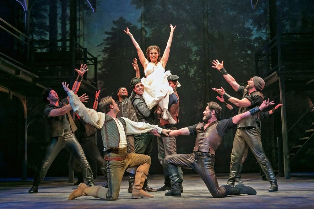 Ever After at Paper Mill Playhouse; Photo by Jerry Dalia; Margo Seibert (Danielle) and the men of Ever After.