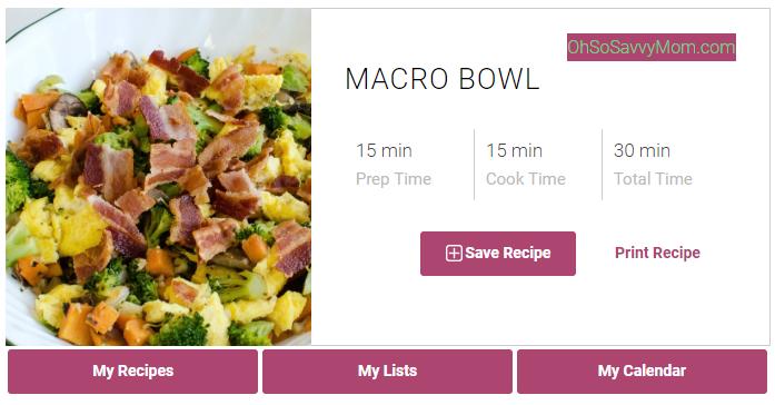Credit: https://www.ohsosavvymom.com/2017/04/bacon-egg-macro-bowl-recipe/