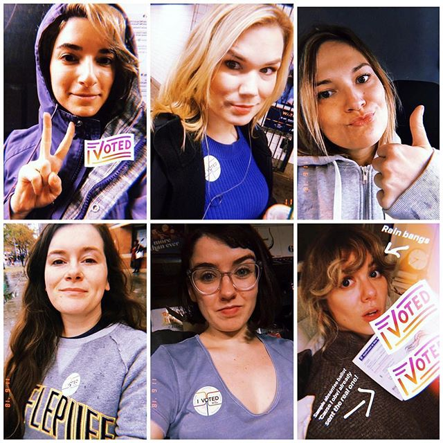 They did the thing! Thanks to @theshrillcollective for exercising your rights yesterday as a team! 💙❤️💙 from the @movethevote team. ・・・ #Repost @theshrillcollective ・・・ We all got the stickers. We did the thing. #IVoted #MoveTheVote #shrillaf