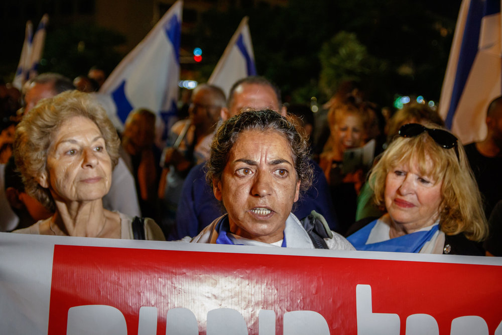 Tel Aviv, April 2016 - Right wing demonstration in support with soldier who killed a neutralized terrorist
