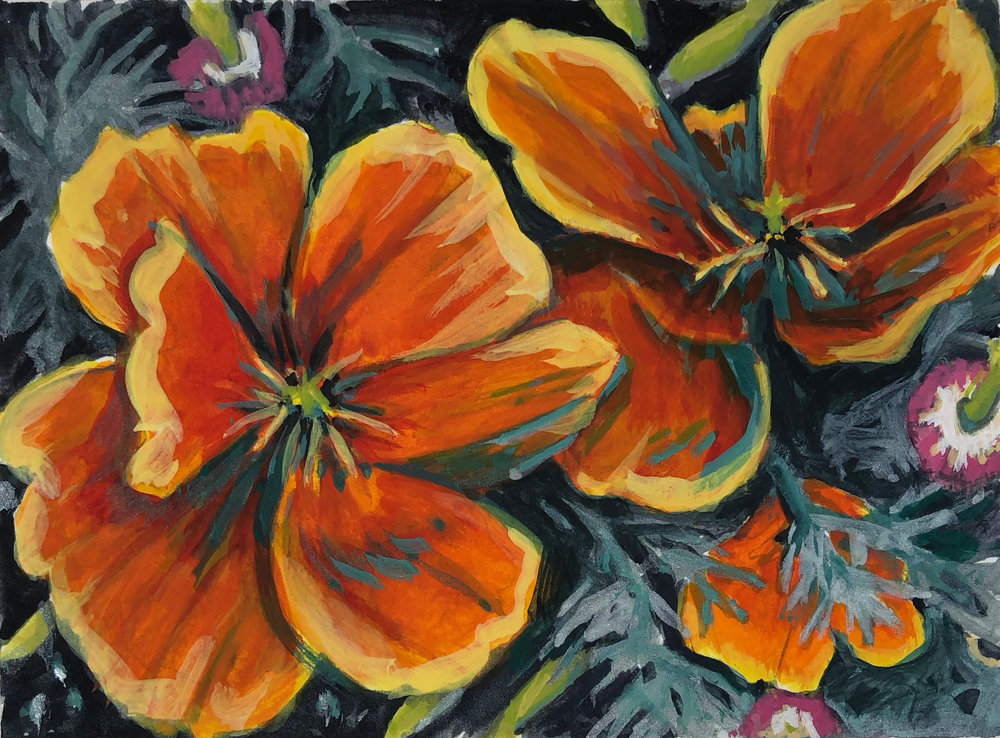 Poppies 2018 4'' x 5.25'' Gouache on Arches