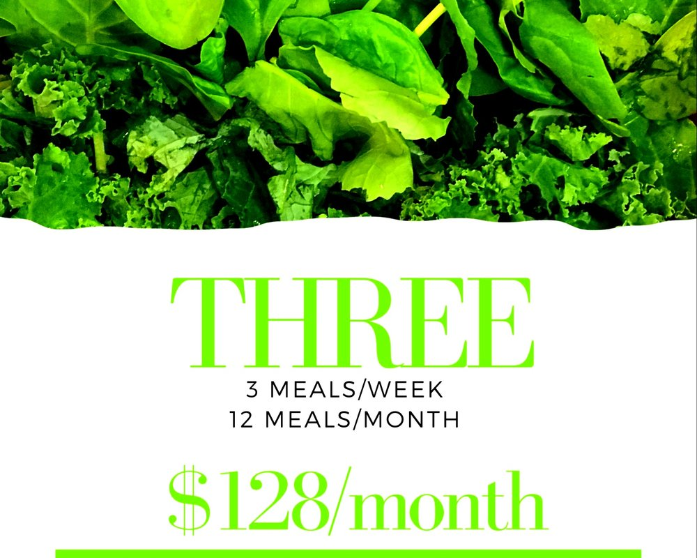 3 meals delivered every week for 4 weeks