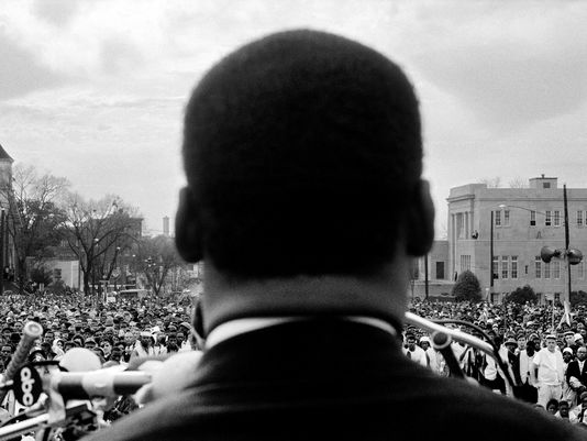 """Martin Luther King at Montgomery"" by Stephen Somerstein  ""Whether the photos are of MLK or any of the other Selma marchers, I know my negatives are safe in the hands of Peter Fairfield. He has brought my images to life."""