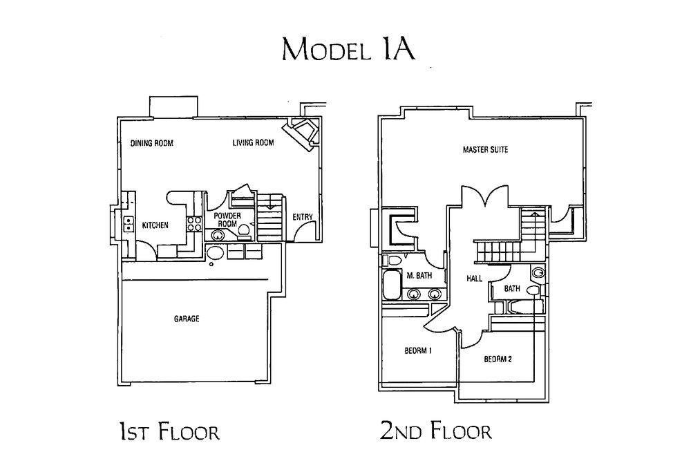 model 1A - 3 bed 2.5 bath * 1,485 sf