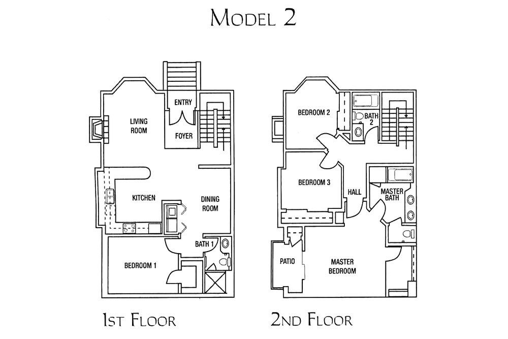 model 2 - 4 bed 3 bath * 1572 - 1620 SF