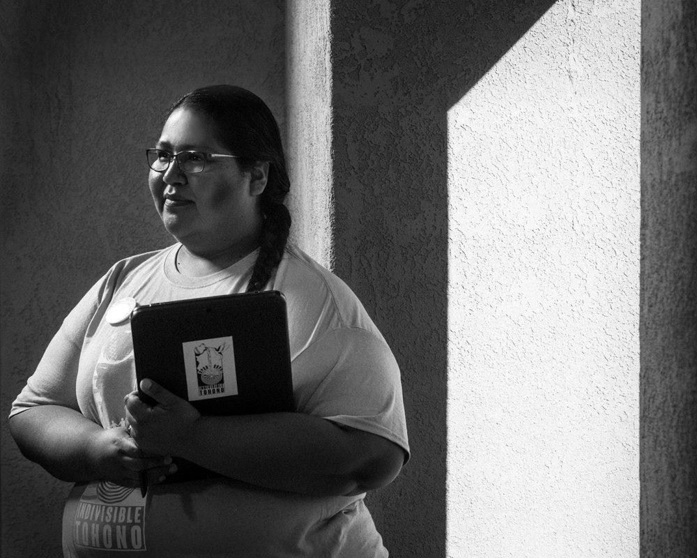 Gabriella Cazares-Kelly on the Tohono O'Odham Nation at Baboquivari High School in Topawa, AZ for Mother Jones Magazine.