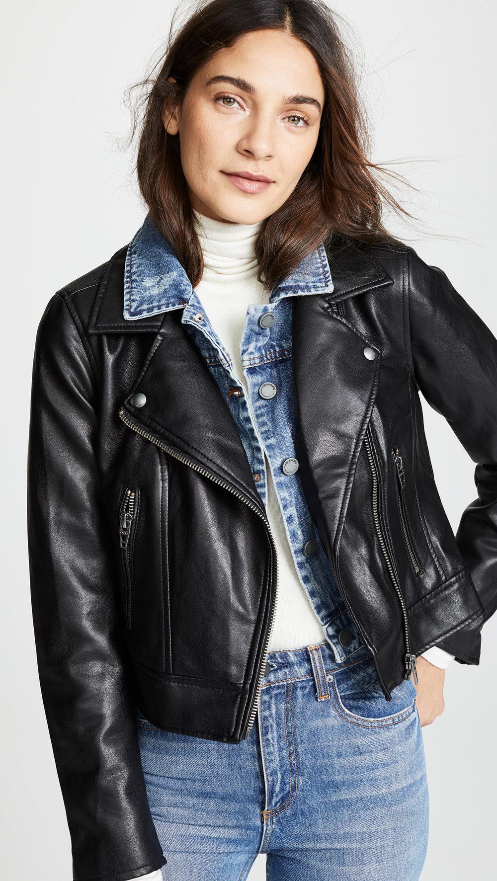 Black DenimDouble layer Denim/Leather jacket - Was: $128.00Now: $76.80