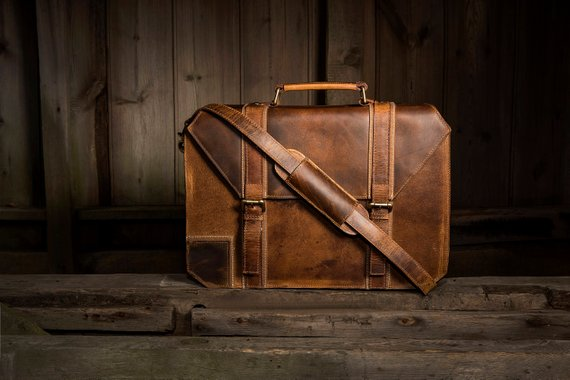 leather briefcase - I love the rustic and professional look of this briefcase It's perfect for work, internships, or even school!