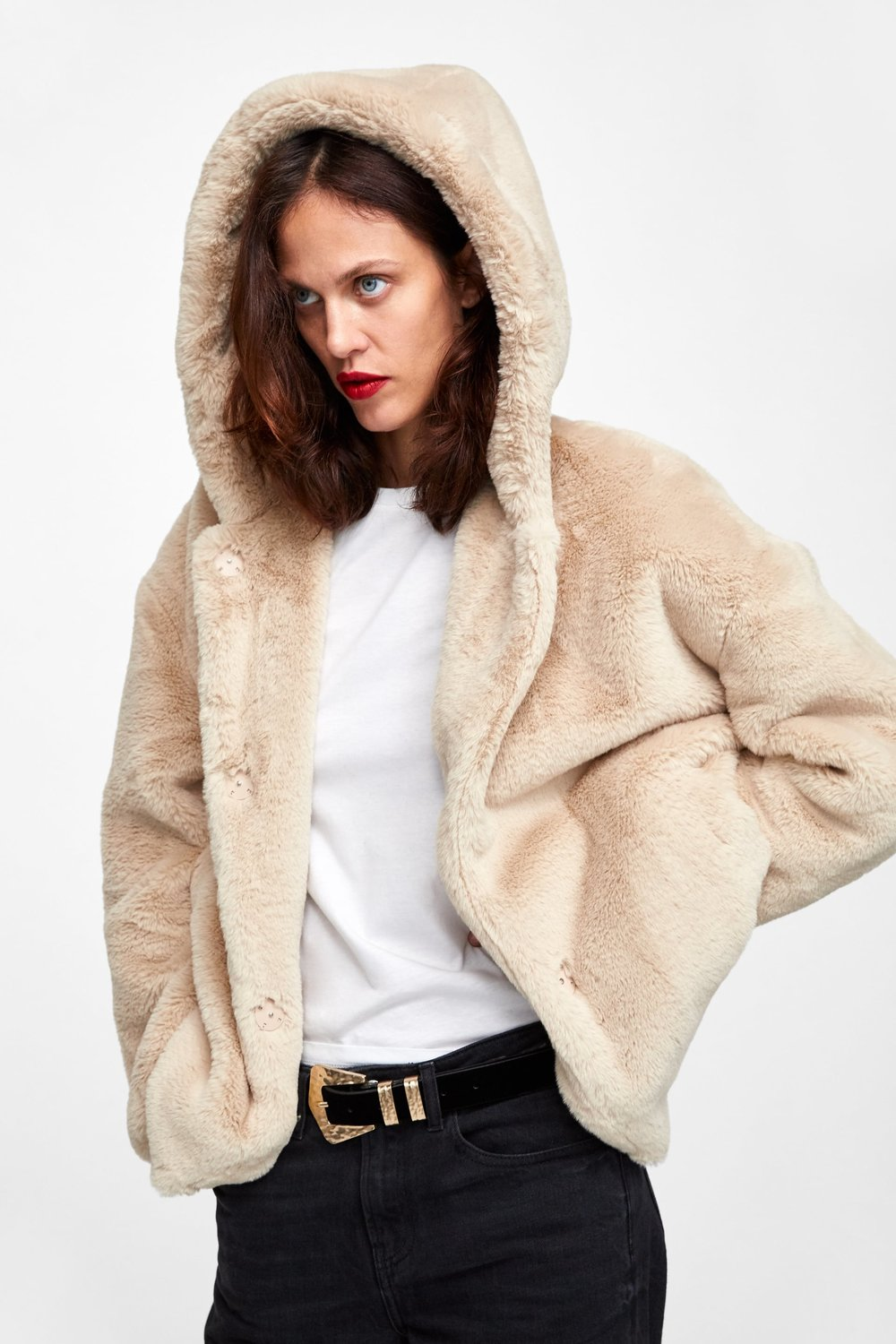 FAUX FUR JACKET - This jacket is so soft I can't stop touching it, ever! cozy I got it in both black and cream.
