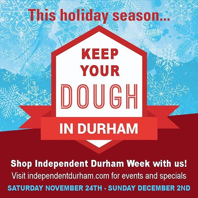 This is the weekend to hit your favorite local spots for Shop Independent Durham Week! Link in bio for special discounts and participating businesses! . #shopindiedurham #smallbusinesssaturday #shoplocal #durm #durhamnc #shopsmall