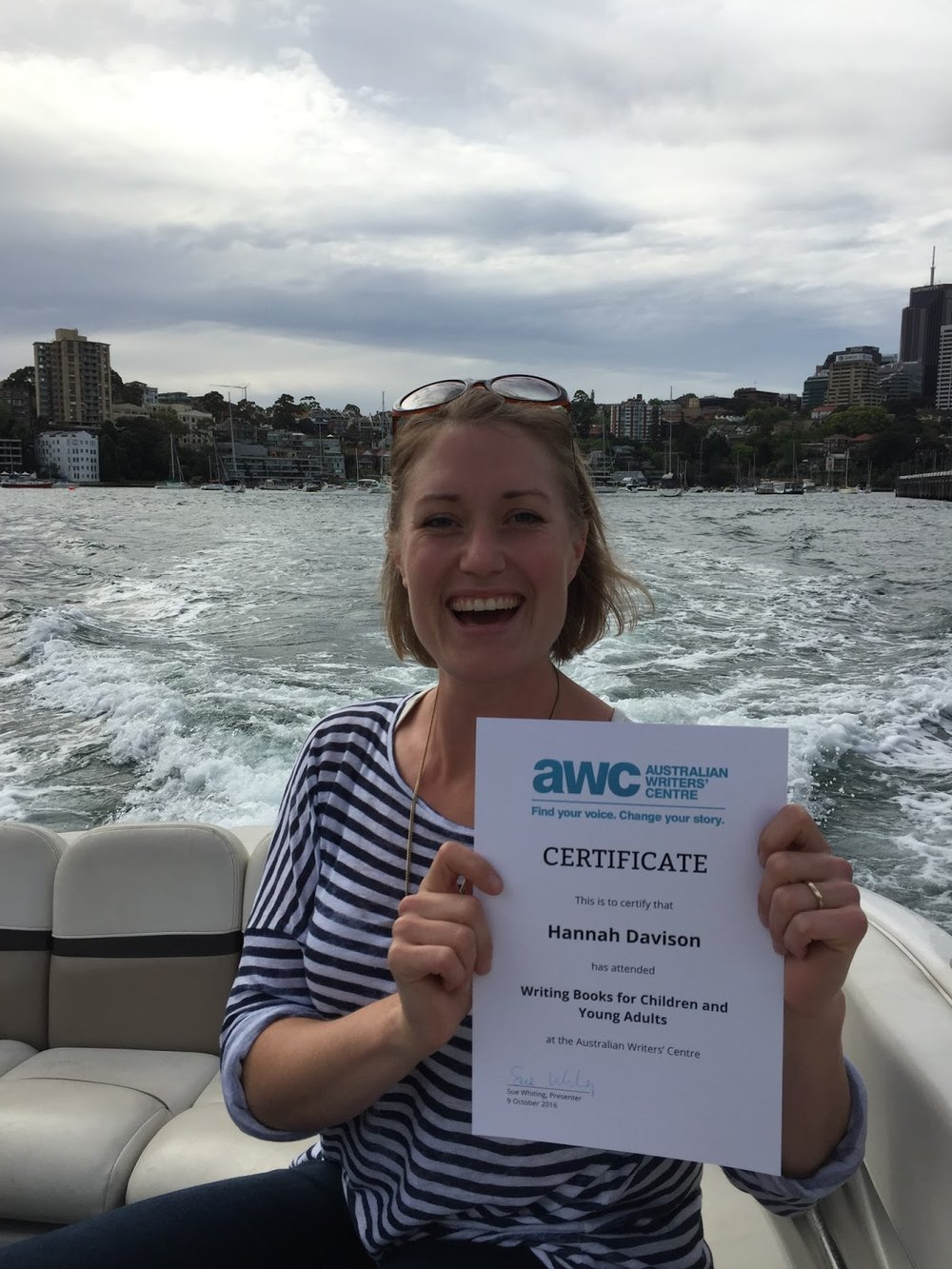 Hannah Davison writer certificate in Sydney.JPG
