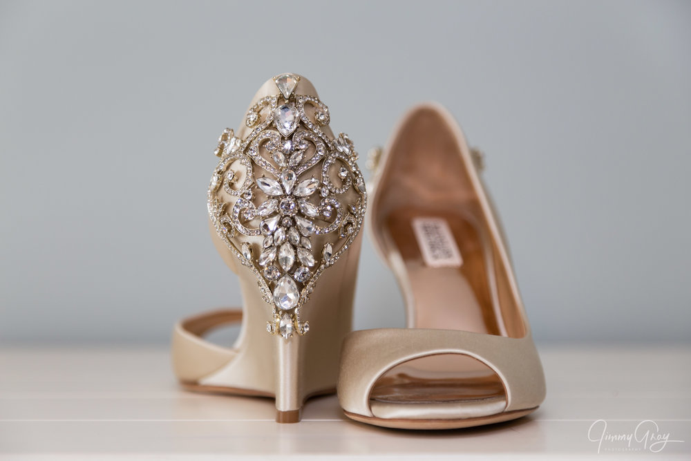 NH Wedding Photography - Jimmy Gray Photo - Laconia, NH - Bridal Shoes Detail Shot - Badgley Mischka