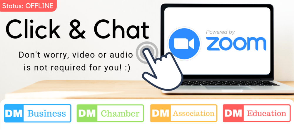 "To begin simply click on the image. You'll be connected and given the option of adding ""audio"", you can either call the number - use your internal microphone - or none, just X out the option and type your message!"