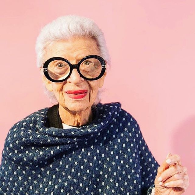 """""""If I could remain one age forever, I wouldn't. I don't believe in that."""" - Iris Apfel  Photo: @iris.apfel"""