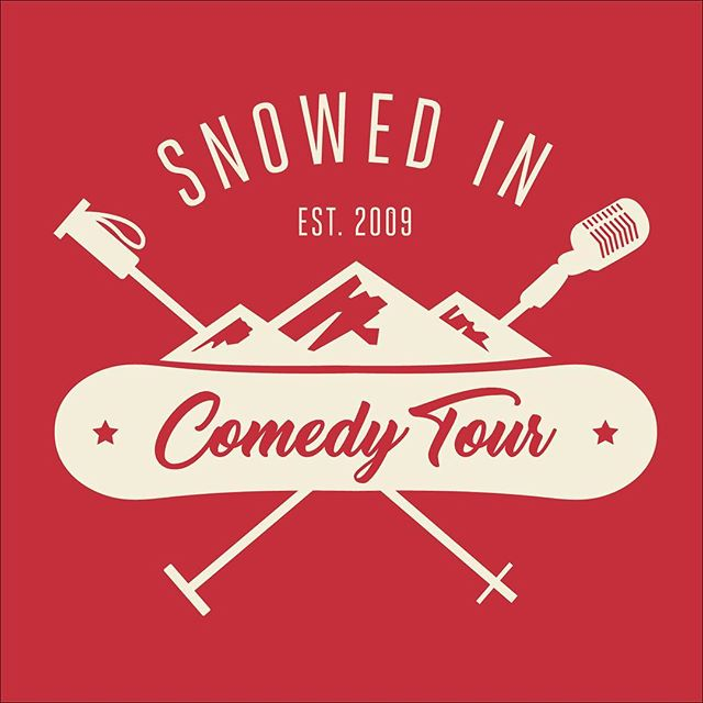 We are deciding on a new logo. Which one is your favorite? Red cream, blue cream, black white, red white. Tickets on sale Oct 19. Snowedincomedytour.com. #snowedincomedytour #newlogo