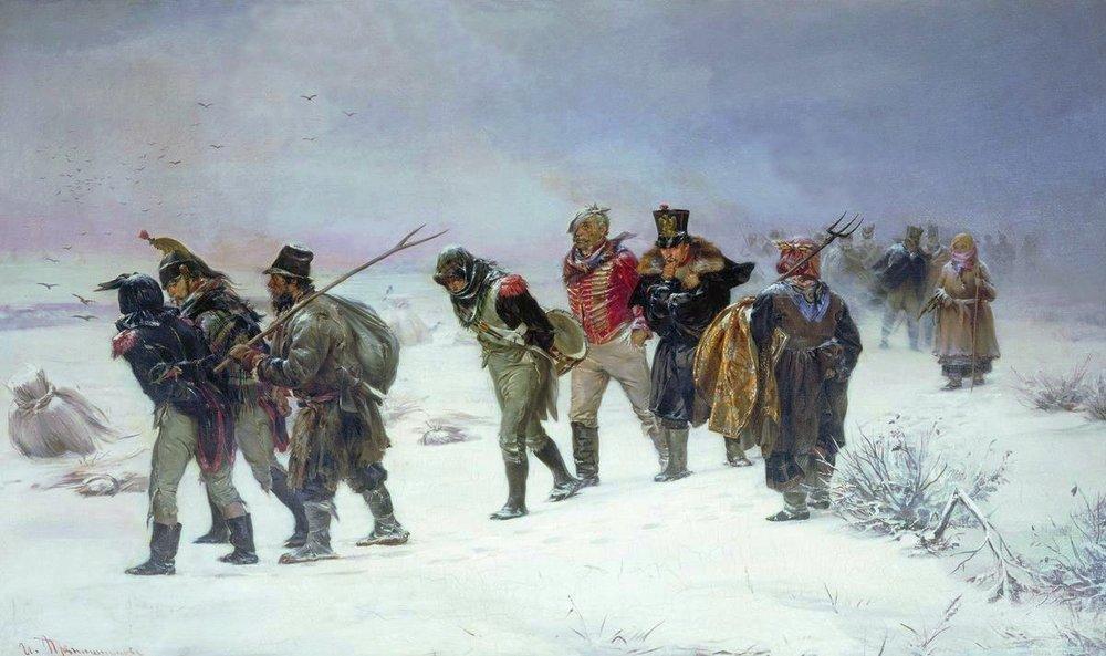 French Retreat in 1812 by Pryanishnikov