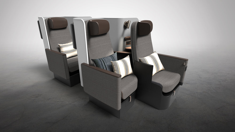 Two for One - Each suite is composed of two seats in a staggered arrangement. When both seats are upright, Butterfly functions as a premium economy or regional business class product. The staggered arrangement of gives passengers increased effective width since their elbows are offset from one another.