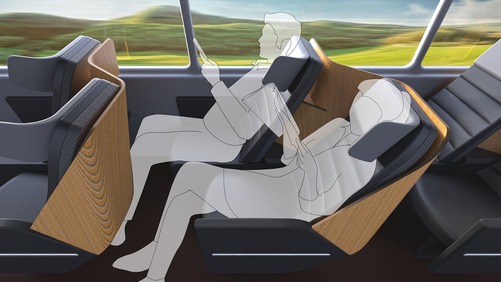 Relax - In its two-seater mode, the Napaway seat functions as a normal coach-class bus seat. Passengers have ample legroom to stretch out and relax, and the staggered seating arrangement gives them more privacy. The seat boasts a comfy 7 inches of recline.