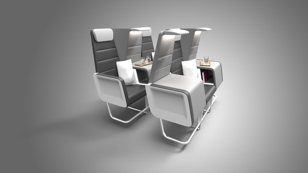 Let There Be Space - When transformed into business class, Checkerboard reveals a host of extra amenities to differentiate itself from economy class. Passengers enjoy padded armrests, an extra-large cocktail table, and personal item storage. The folded seats create up to 8 inches additional legroom, while the raised armrest increases seat width from 17 inches to 19 inches for aisle & window seats, and 21 inches for middle seats.