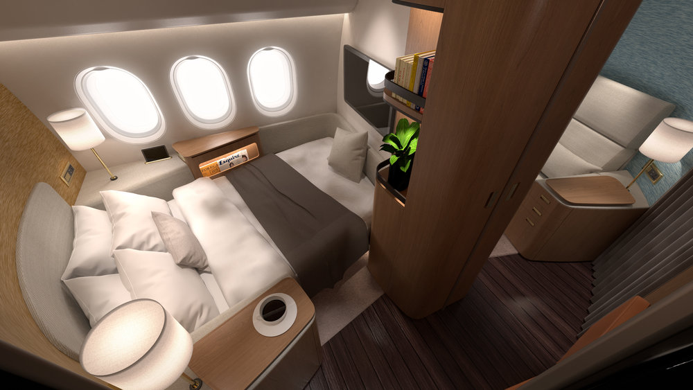 "Dynamic Duo - The joining of adjacent spaces delivers synergy by forming true ""suites"" with one space configured as living room, the other as bedroom throughout the flight."