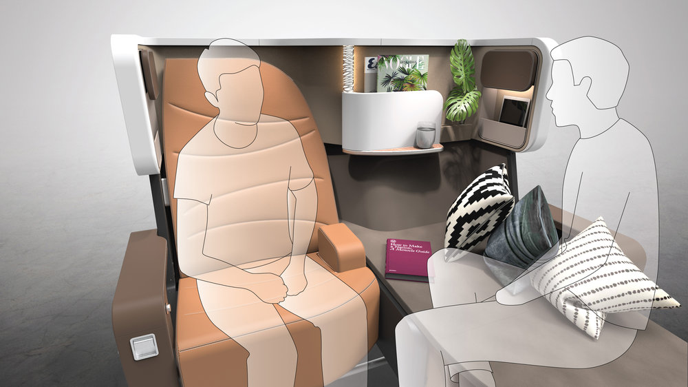 Shared Space - Whetherprivacy or intimacy is preferred, Butterfly gives passengers plenty of options for socializing. In business class, passengers may invite guests over on the side couch for a meal together, while couples may choose to convert the side couches back into seats so that they can sit close to each other even during takeoff and landing.