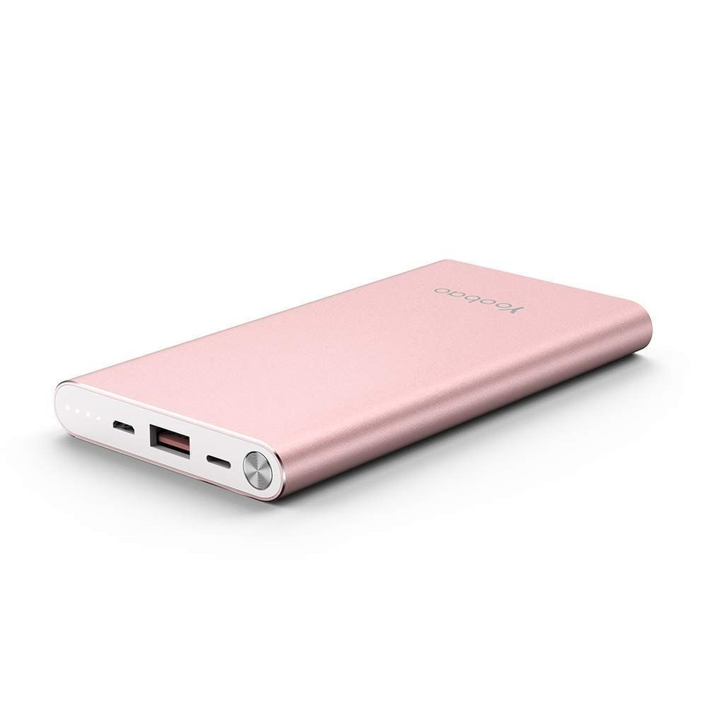 Yoobao Portable Charger 10000mAh Slim Power Bank Powerbank External Cell Phone Battery Backup Charger Battery Pack with Dual Input Compatible iPhone X 8 7 Plus Android Samsung Galaxy More - Rose Gold.  27.99$.  Photo credit: amazon.com