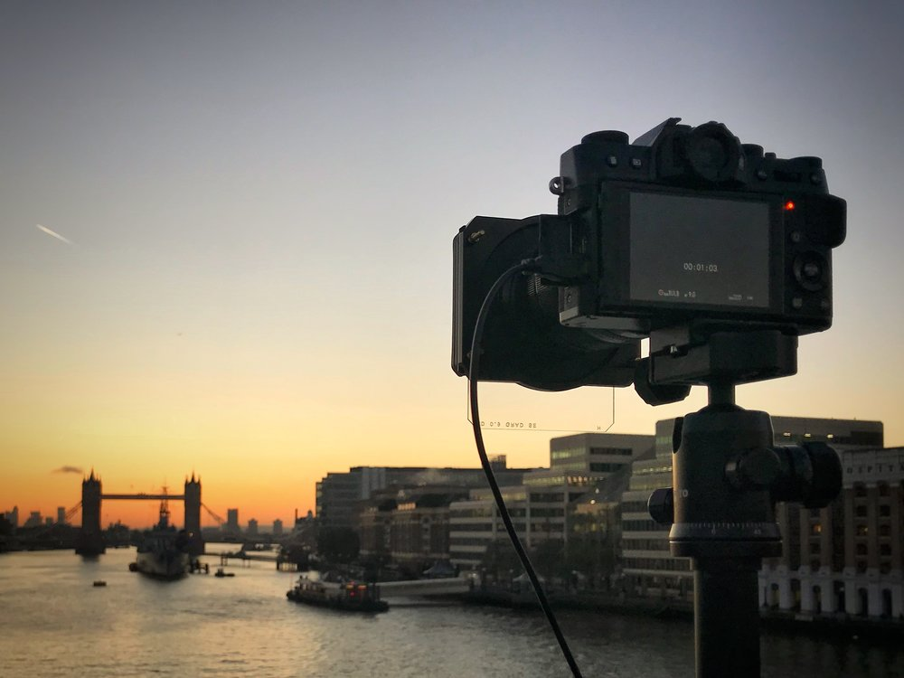 London Bridge from behind the camera at sunrise taken by Trevor Sherwin