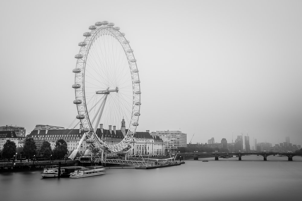 A long exposure black and white photo of the London Eye taken by Trevor Sherwin