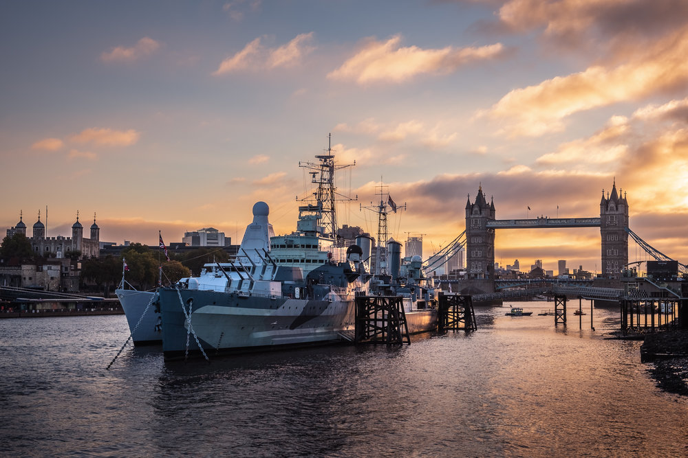 HMS Belfast at Sunrise, London