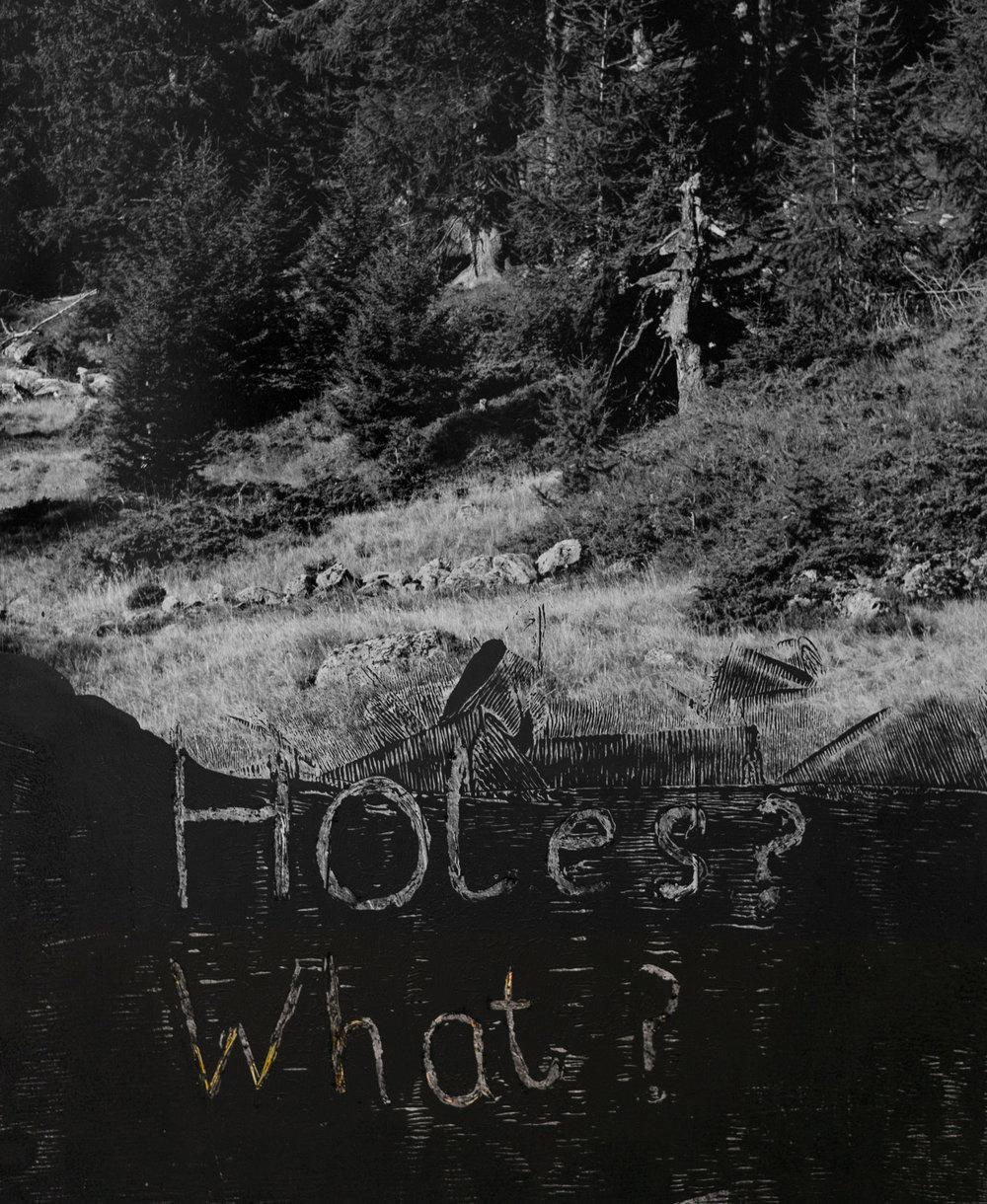 Holes? What?, acrylic on C-type print, 2017