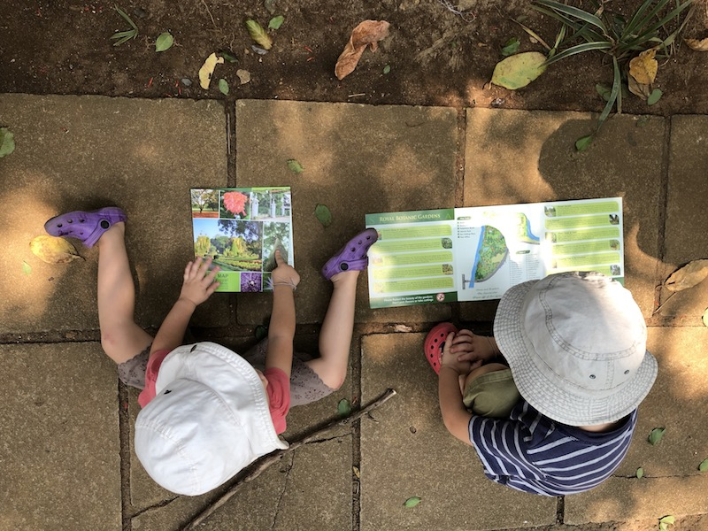 They were playing for hours with these maps at Peradeniya, pretending they can read. Photo © Szilvia Molnár