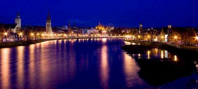 River Ness and Inverness by night