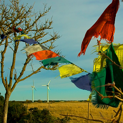 Tibetan prayer flags and wind turbines