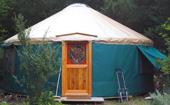 A brilliantly-colored yurt is not out of place at Findhorn