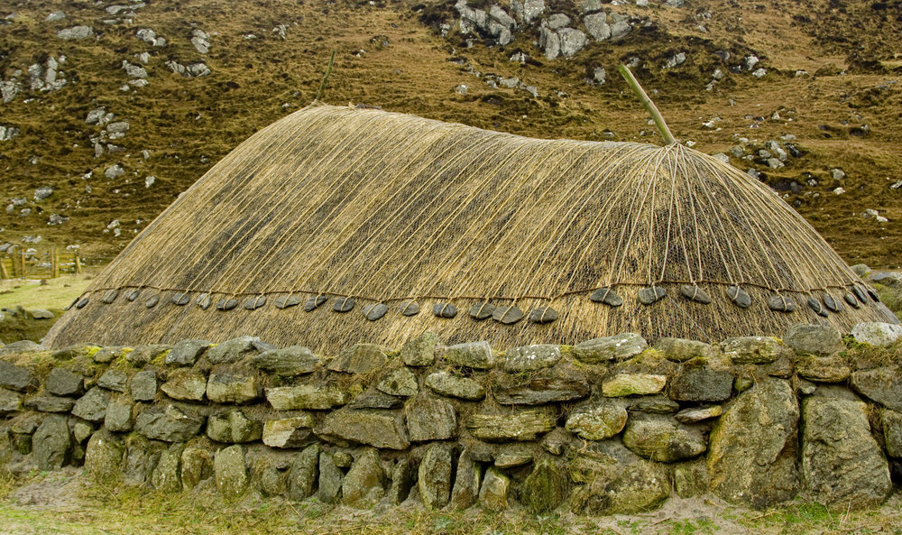 Traditional thatched stone house