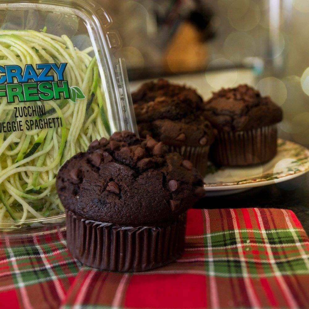 Chocolate Zucchini Muffins -