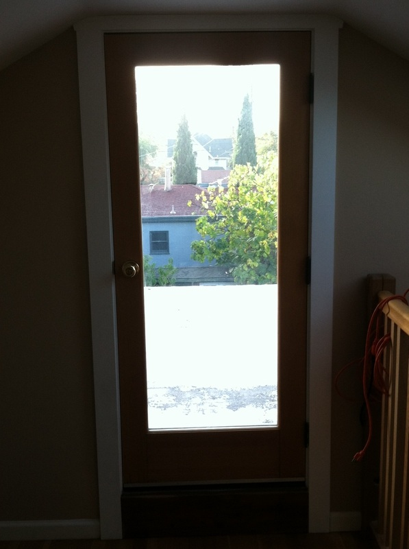 Existing window converted to new exterior door.