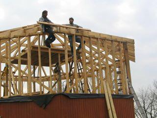 An octagonal retreat center takes shape.