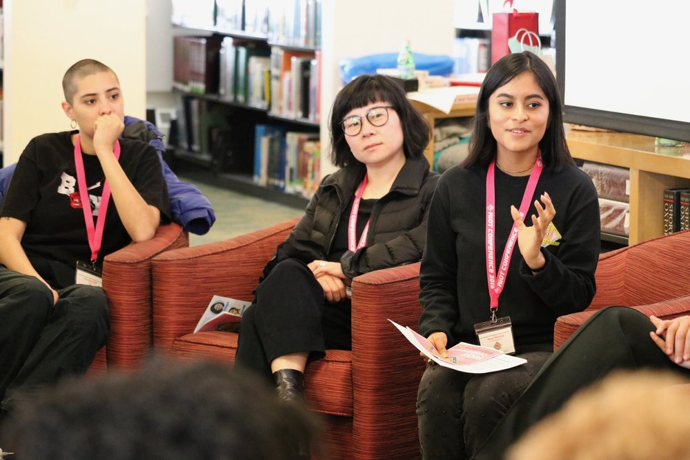 Speakers Vanessa Vigil and Su Yon Yi with moderator Alyza Martinez '19.