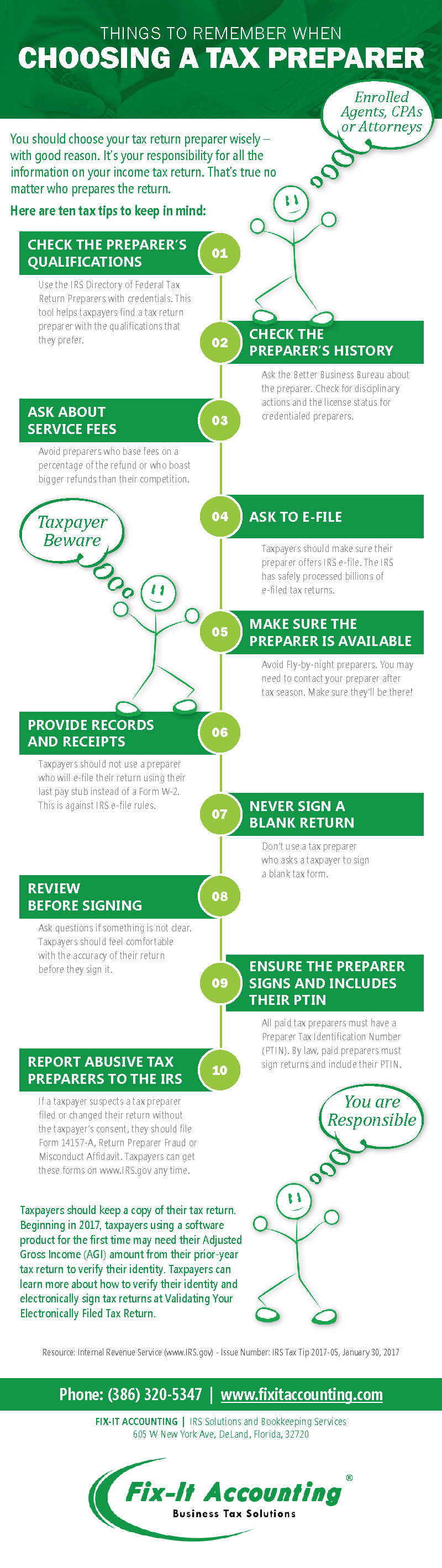 Things to remember when choosing a tax preparer.    Copyright © 2012-2019. Nancy Benet. All Rights Reserved.