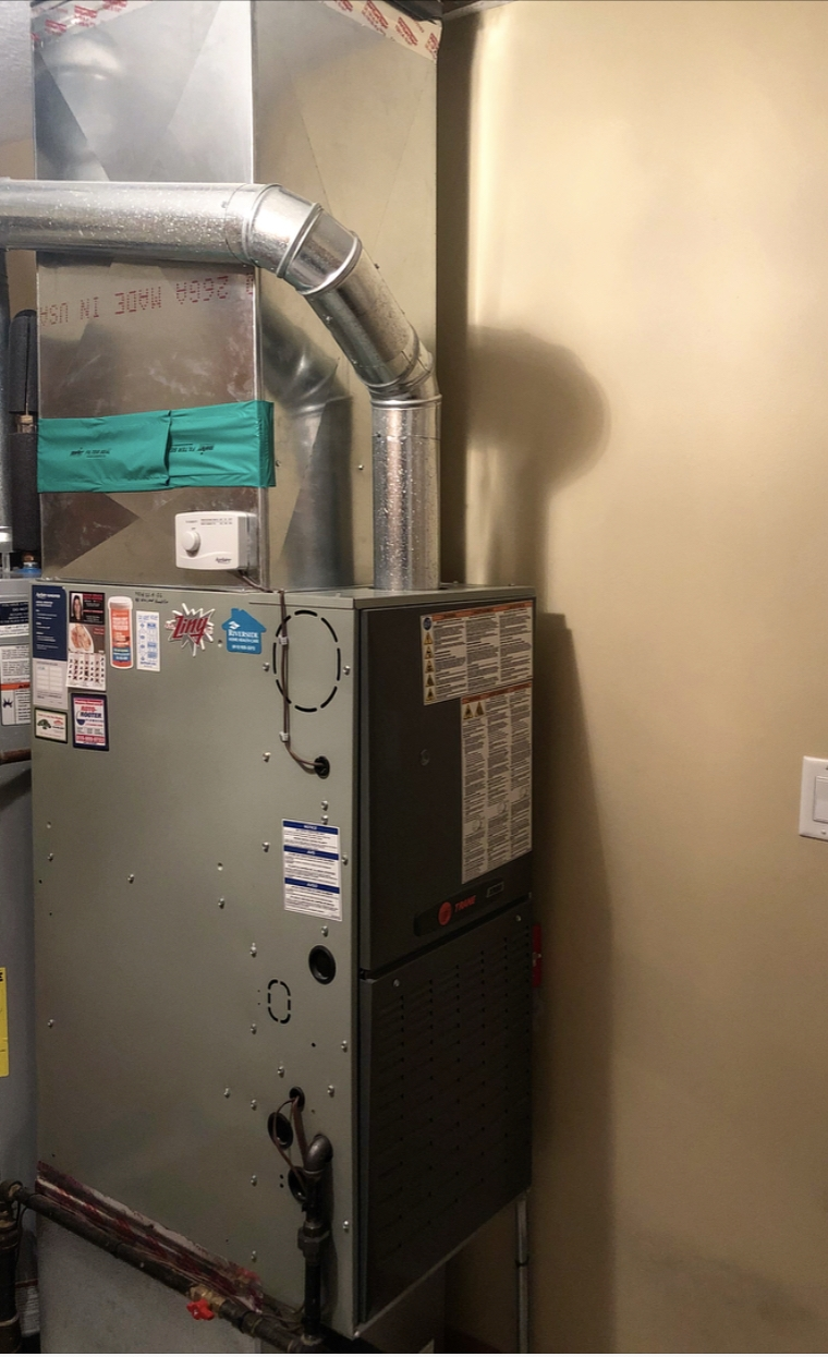 Trane Downflow Furnace with Aprilaire Power Humidifier
