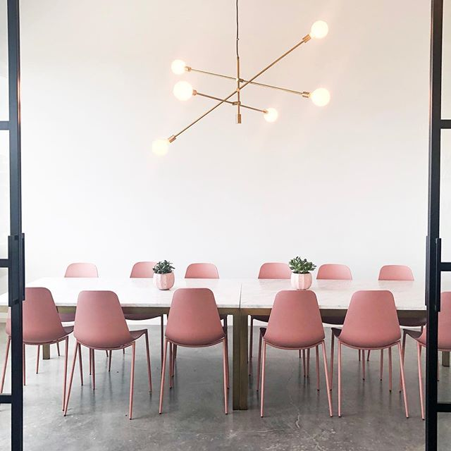 We are so excited for our friend @aileenlavin and the opening of her beautiful women's coworking space @theemeryco. Aileen has a background in interior design and it really shows!  Who wouldn't want to be a boss from this badass conference room?! . . . . #interiordesign #lightingdesign #pinkandgold #goldchandelier #blackdoor #hallendalebeach #theemery #aliciaweaverdesign #bossbabe #womensupportwomen #gettowork #coworkingspace
