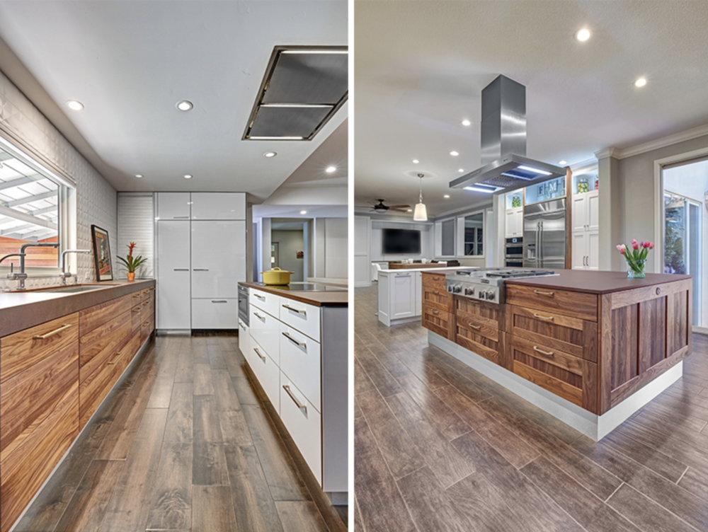 Modern kitchens with very un-matchy cabinetry. The contrast between warm woods and high-gloss white feels especially fresh. Designer: Nar Design Group Photographer: Fred Donham of PhotographerLink