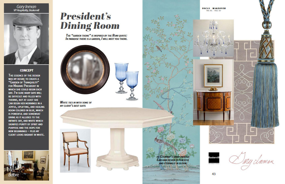 Featuring: Century table, Decorative Crafts chair and sideboard, De Gournay wallpaper, Houles trim, Howard Elliott mirror, Barovier chandelier and KAS rugs