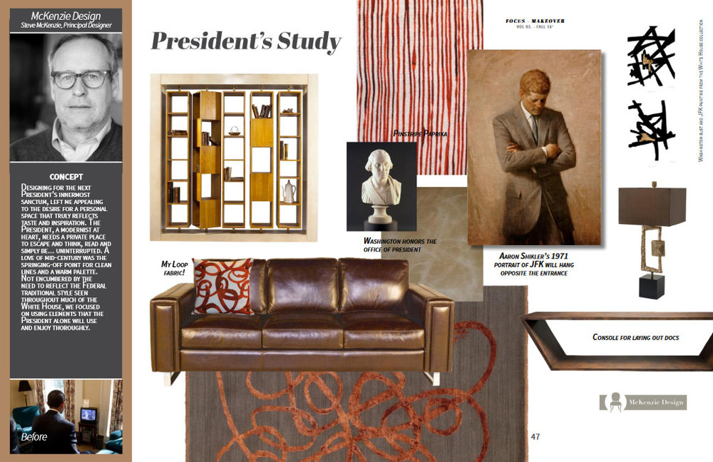 Featuring: Eleanor Rigby Leather sofa, Perry Luxe console, French Heritage bookcase, Theodore Alexander lamp; Steve Mckenzie-designed Verde Home Rug, art, Pinstripe fabric and Loop pillow.