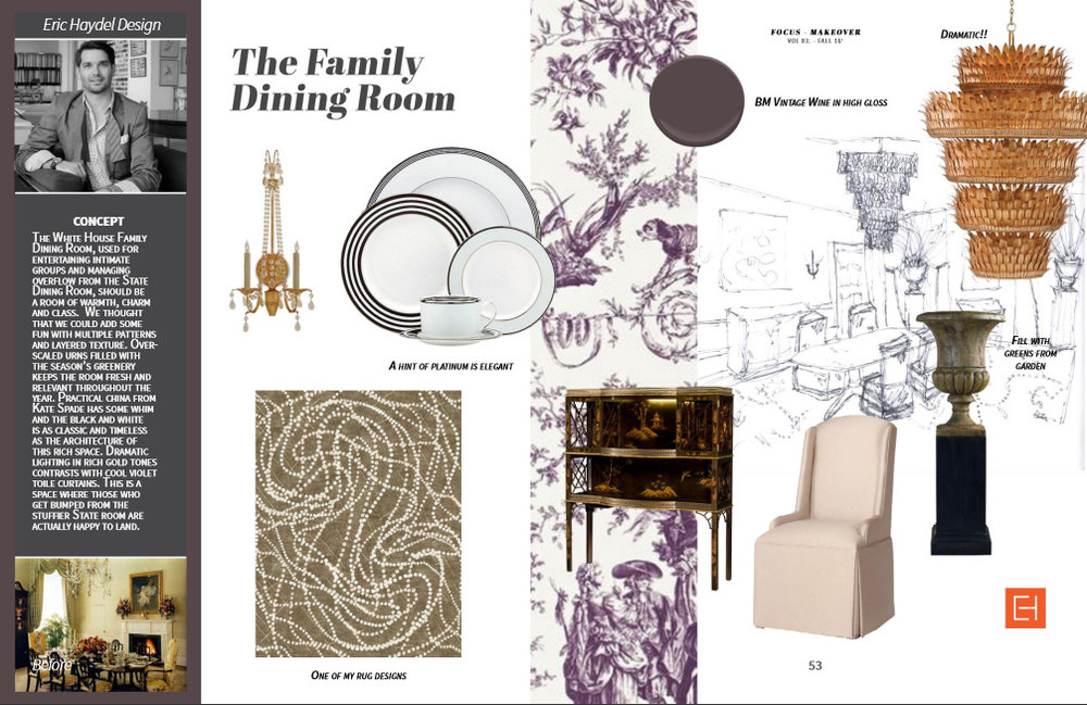 Featuring: Currey & Co. lighting, French Heritage pedestal/urn, Theodore Alexander bar cabinet, Carrington Court chair, Eric Haydel-designed Carnival Rug for Dover Rugs, Schumacher toile fabric, Kate Spade china.
