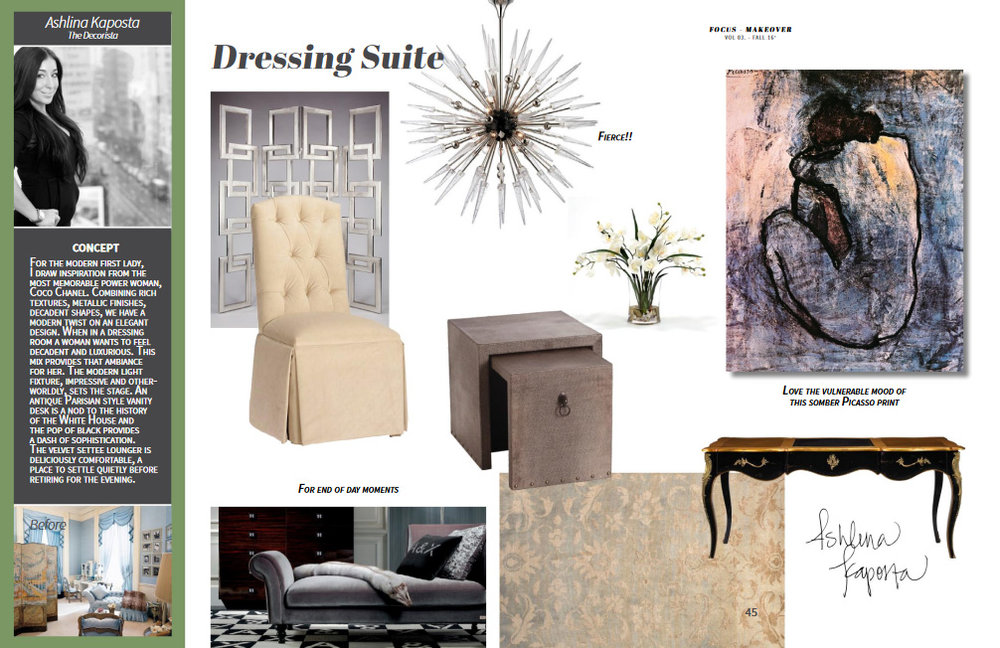 Featuring: Artmax screen, Hudson Valley Lighting's Sparta chandelier, VIG chaise, Carrington Court chair, Jaipur rug, French Heritage desk, Arteriors nesting tables, Distinctive Designs silk floral, and Art.com.
