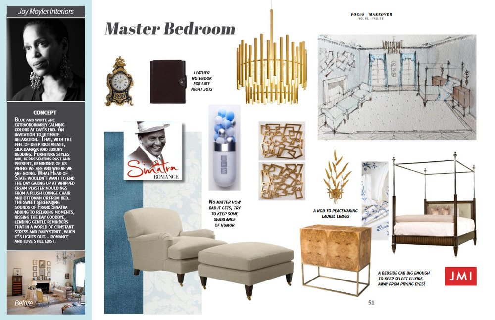Featuring: Theodore Alexander bed and chest, Planum chandelier, Ralph Lauren chair and ottoman, Schumacher silk and damask, Leron linens, Artmax wall decor, 1st Dibs clock and art, Currey & Co. sconce.