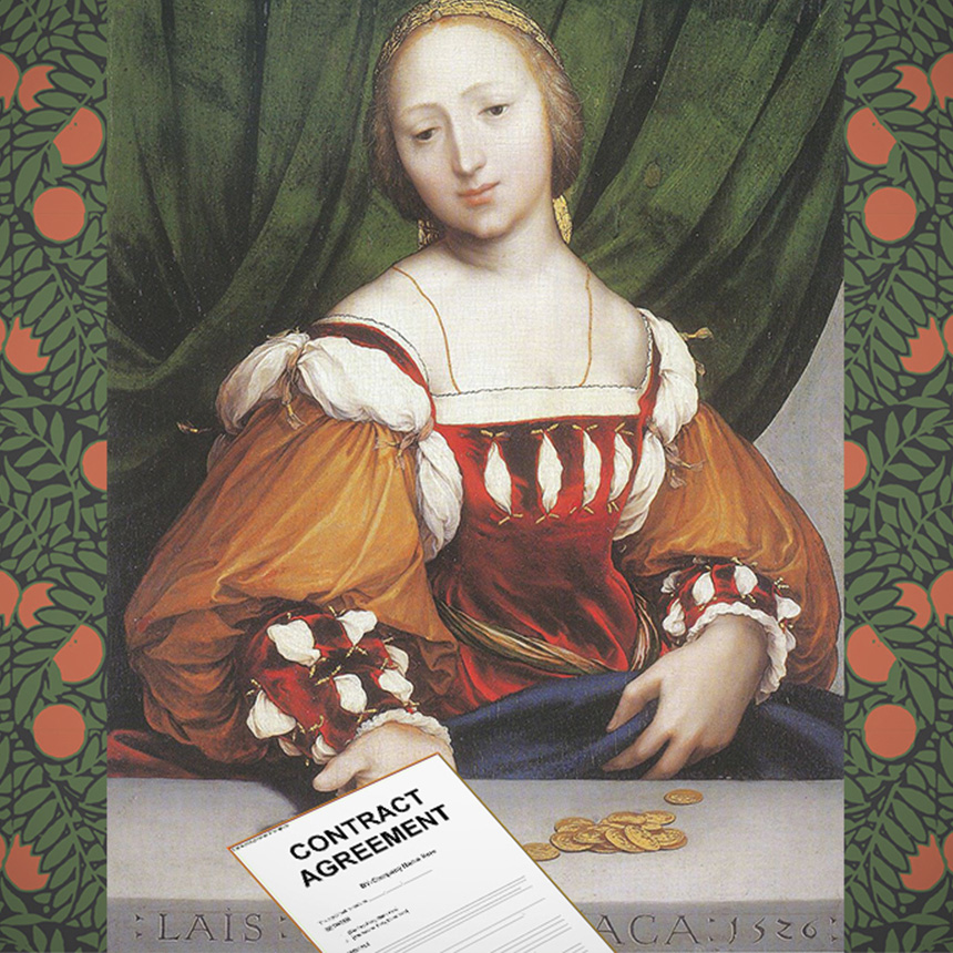 Painting: Lais of Corinth by Hans Holbein the Younger    Background:    Mitchell Black Orange Bush Wallcovering