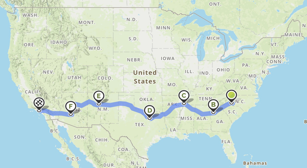 This is the actual route we took from Charlotte to Los Angeles.